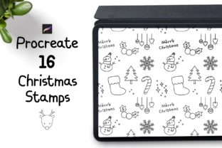 Procreate Christmas Stamp Brush Set Graphic Brushes By Jyllyco