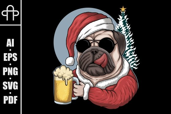 Print on Demand: Pug Dog Beer Wearing a Santa Costume Graphic Illustrations By Andypp