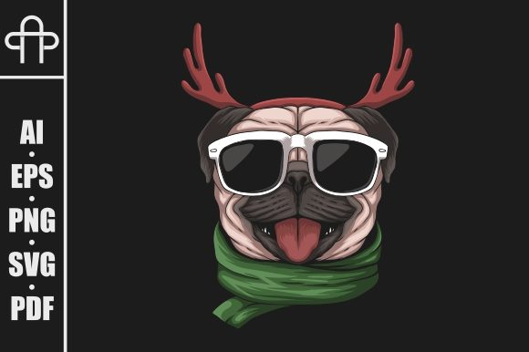 Print on Demand: Pug Dog Wearing a Santa Hat Graphic Illustrations By Andypp
