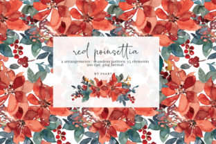 Red Poinsettia Watercolor Clipart Graphic Illustrations By Patishop Art