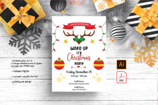 Print on Demand: Reindeer Christmas Party Invitation Graphic Print Templates By SmmrDesign