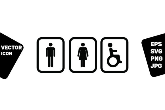 Print on Demand: Restroom Sign Vector Man Woman Disabled Graphic Icons By TukTuk Design