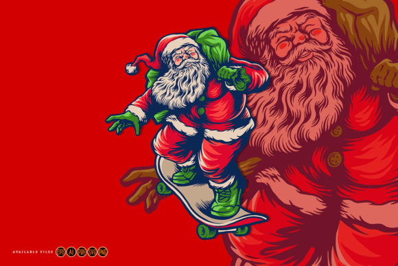 Print on Demand: Santa Claus Playing Skateboard Graphic Crafts By artgrarisstudio