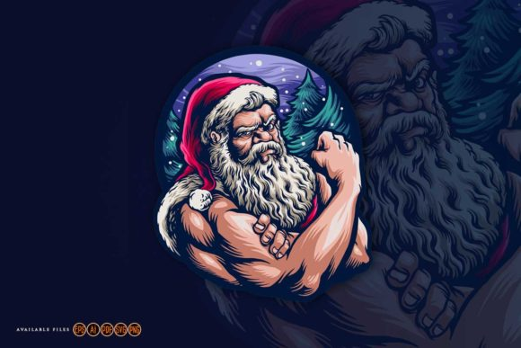 Print on Demand: Santa Claus Strong Merry Christmas Graphic Illustrations By artgrarisstudio