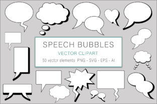 Print on Demand: Speech Bubbles Clip Art Vector Graphic Illustrations By AS Digitale