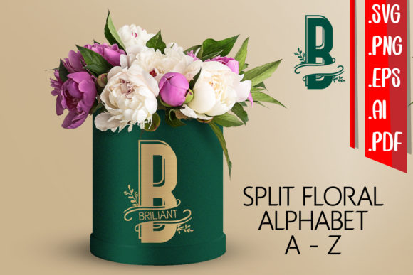 Split Floral Alphabet a-Z Svg Eps Ai Png Graphic Crafts By assalwaassalwa