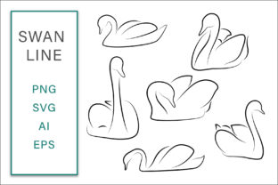 Print on Demand: Swan Line Clip Art Vector Illustration Graphic Crafts By AS Digitale