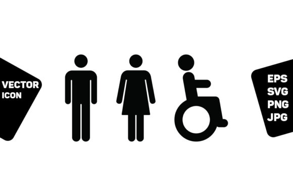 Print on Demand: Toilet Sign Man Woman & Disabled Person Graphic Icons By TukTuk Design