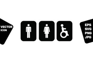 Print on Demand: Toilet Symbol Vector Man Woman Disabled Graphic Icons By TukTuk Design