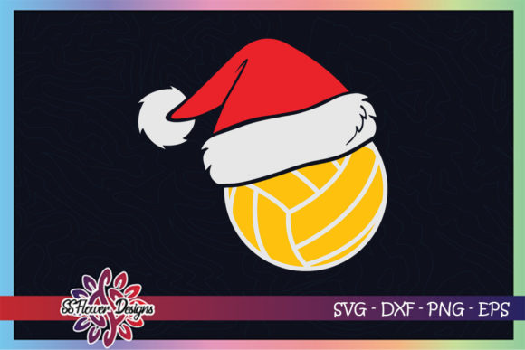 Volleyball Ball Santa Christmas Hat Graphic Print Templates By ssflower