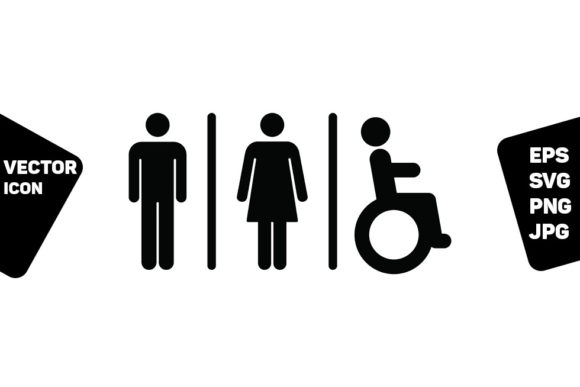 Print on Demand: WC Sign Man, Woman & Disabled Person Graphic Icons By TukTuk Design