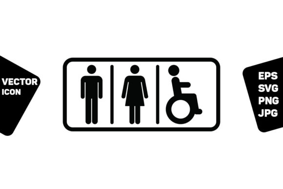 Print on Demand: Washroom Sign Man Woman Disabled Symbol Graphic Icons By TukTuk Design