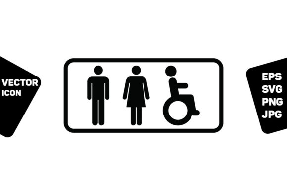 Print on Demand: Washroom Symbol Man Woman Disabled Sign Graphic Icons By TukTuk Design