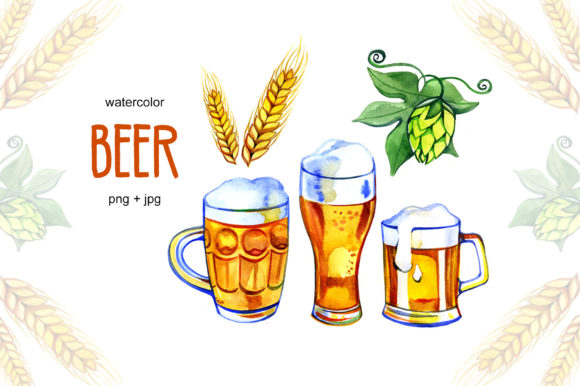 Watercolor Beer, Hop and Malt Graphic Illustrations By NataliMyaStore