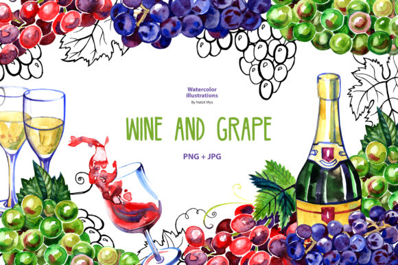 Watercolor Wine and Grape Graphic Illustrations By NataliMyaStore