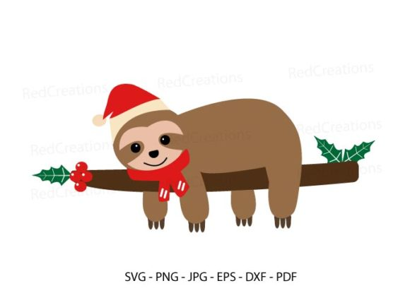 Christmas Sloth Mode, Cute Cartoon Sloth Graphic Illustrations By RedCreations