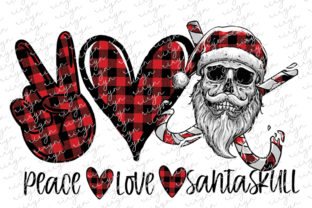 Peace Love Santa Skull Sublimation Graphic Crafts By riryndesign