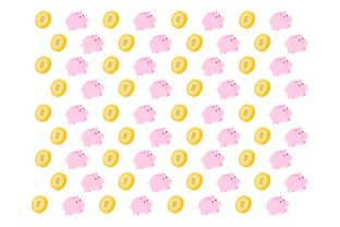 Pink Pig Bank and Gold Coin Cartoon Graphic Backgrounds By Ardwork