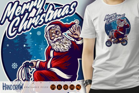 Print on Demand: Santa Claus Riding Motorcycle Graphic Crafts By artgrarisstudio
