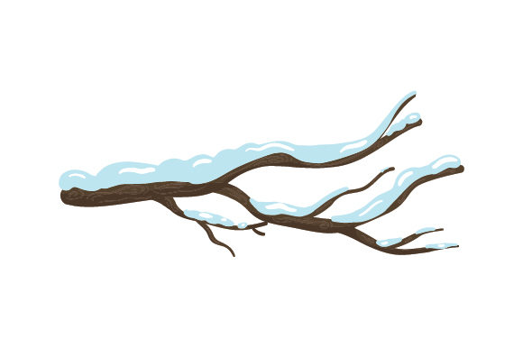 Branch Covered in Snow Nature & Outdoors Craft Cut File By Creative Fabrica Crafts