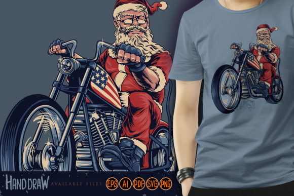 Print on Demand: Bikers Santa Claus Cooper Motorbike Graphic Illustrations By artgrarisstudio