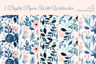 Print on Demand: Blue Pink Watercolor Floral Pattern Graphic Patterns By asrulaqroni
