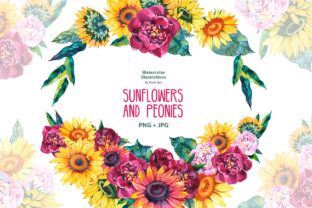 Bouquets of Sunflowers and Peonies Graphic Illustrations By NataliMyaStore