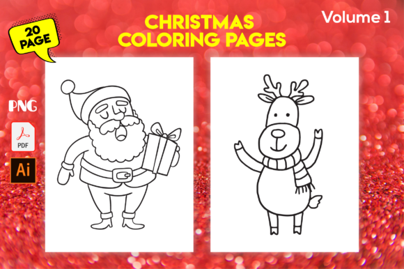 Print on Demand: Christmas Coloring Pages for Kids- Vol 1 Graphic Coloring Pages & Books Kids By MK DESIGN