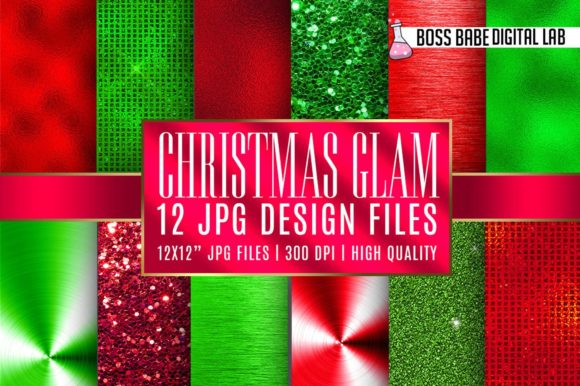 Print on Demand: Christmas Glam Digital Papers Graphic Textures By bossbabedigitallab