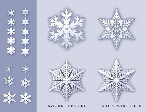 Christmas Snowflakes Graphic 3D SVG By 2dooart
