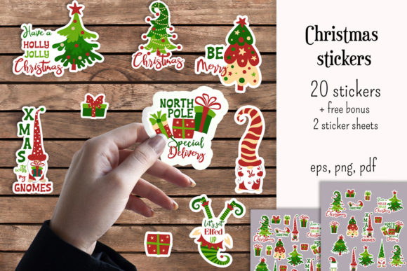 Christmas Stickers Graphic Illustrations By inkoly.art