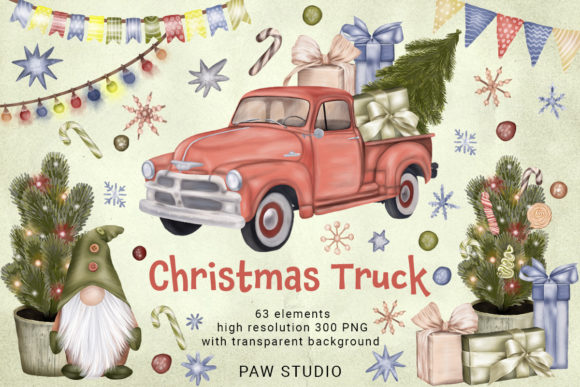Print on Demand: Christmas Truck Gnome Tree Garlan Winter Graphic Illustrations By PawStudio