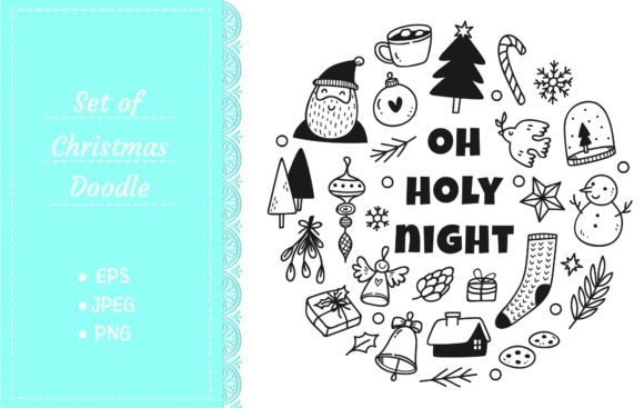 Christmas Cute Doodle Set Graphic Illustrations By Big Barn Doodles