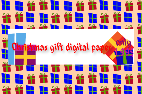 Christmas Gift Digital Paper Graphic Backgrounds By Rizky Creative