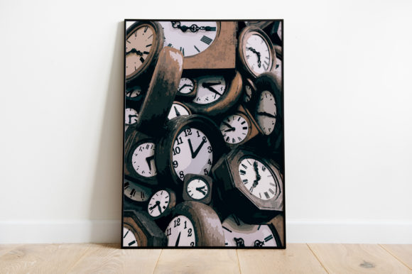 Print on Demand: Clock Vintage Watercolor Graphic Illustrations By Silenic.co