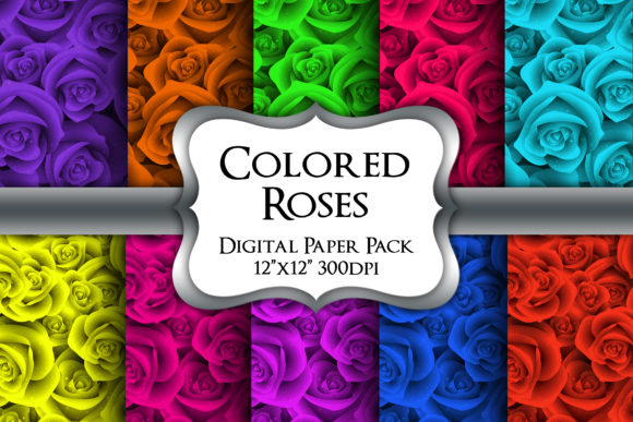 Print on Demand: Colored Roses Digital Paper Pack Graphic Backgrounds By Party Pixelz