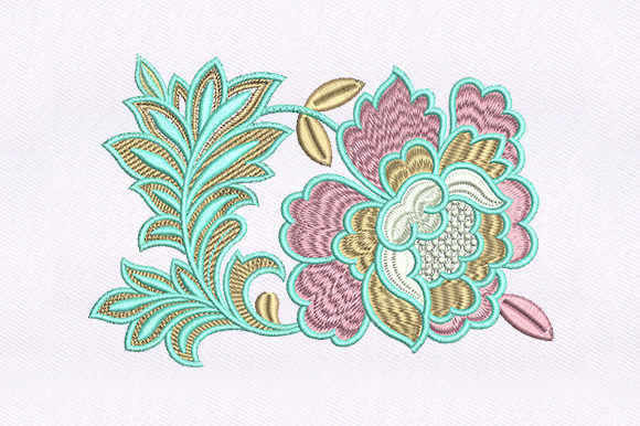 Coordinated Flower Design Single Flowers & Plants Embroidery Design By DigitEMB