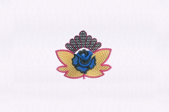 Crown Blue Flower Design Embroidery
