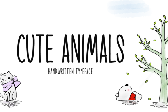 Print on Demand: Cute Animals Script & Handwritten Font By Seemly Fonts