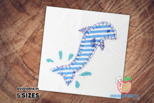 Cute Baby Dolphin Dolphin Applique Marine Mammals Embroidery Design By embroiderydesigns101