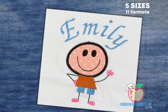 Cute Boy Saying Hi Applique for Kids Boys & Girls Embroidery Design By embroiderydesigns101