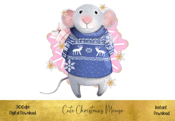 Cute Christmas Mouse Graphic Illustrations By STBB