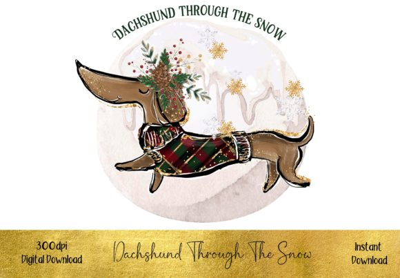 Dachshund Through the Snow Graphic Illustrations By STBB