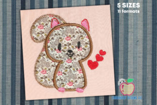 Design of Cute Squirrel with Hearts Farm Animals Embroidery Design By embroiderydesigns101