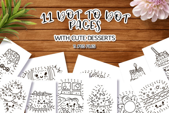 Dot to Dot Pages with Cute Dessert Graphic Coloring Pages & Books Kids By Анна Конева