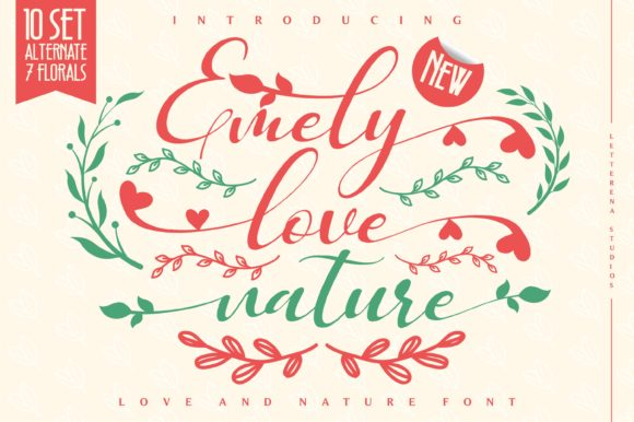 Print on Demand: Emely Love Nature Script & Handwritten Font By letterenastudios