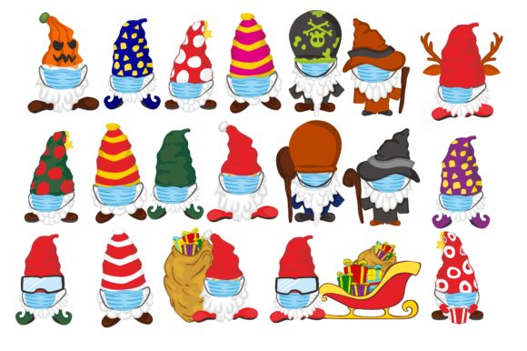 Gnomes in Winter Wear Mask Clip Art Set Graphic