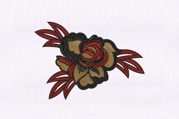 Goth Rose Flower Design Single Flowers & Plants Embroidery Design By DigitEMB