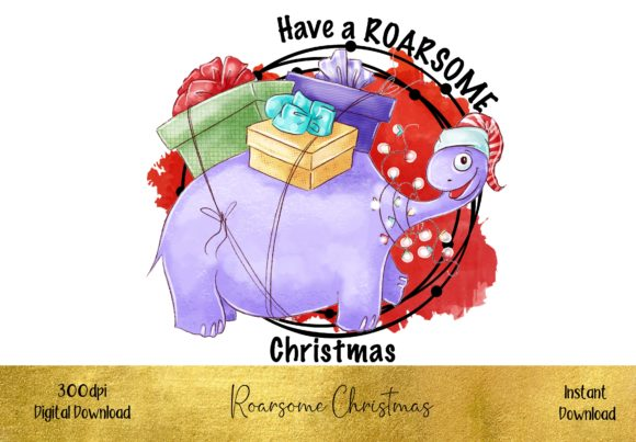 Have a ROARSOME Christmas Graphic Illustrations By STBB
