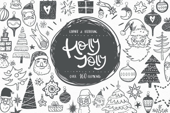 Print on Demand: Holly Jolly. Winter Doodles Graphic Objects By dinkoobraz